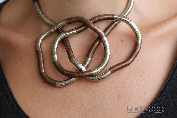 Original Knotlace or bendy necklace – Silver and Copper - http://www.knotlace.com.au/ #style #fashion #accessory #jewellery #silveraccessory