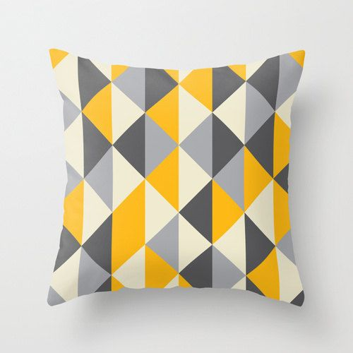 Geometric Throw Pillow Cover - Modern Polygon Themed Pattern Grey Black Yellow