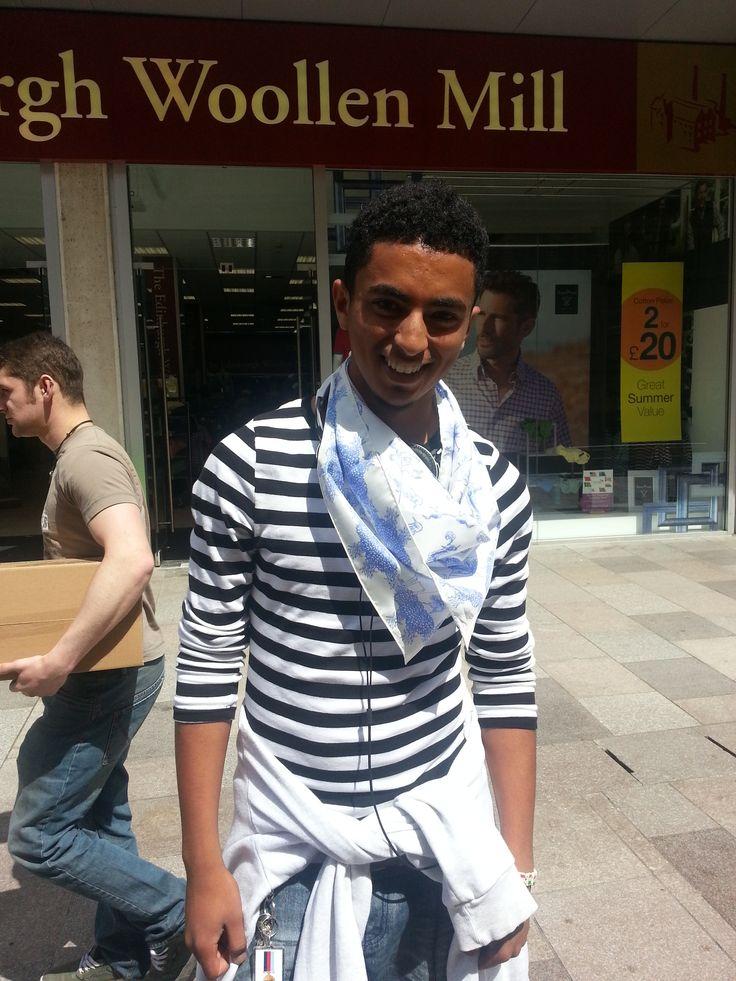 Oscar in a @Merlin   scarf! #silkscarf #cupofdaisies #ethical #fashion