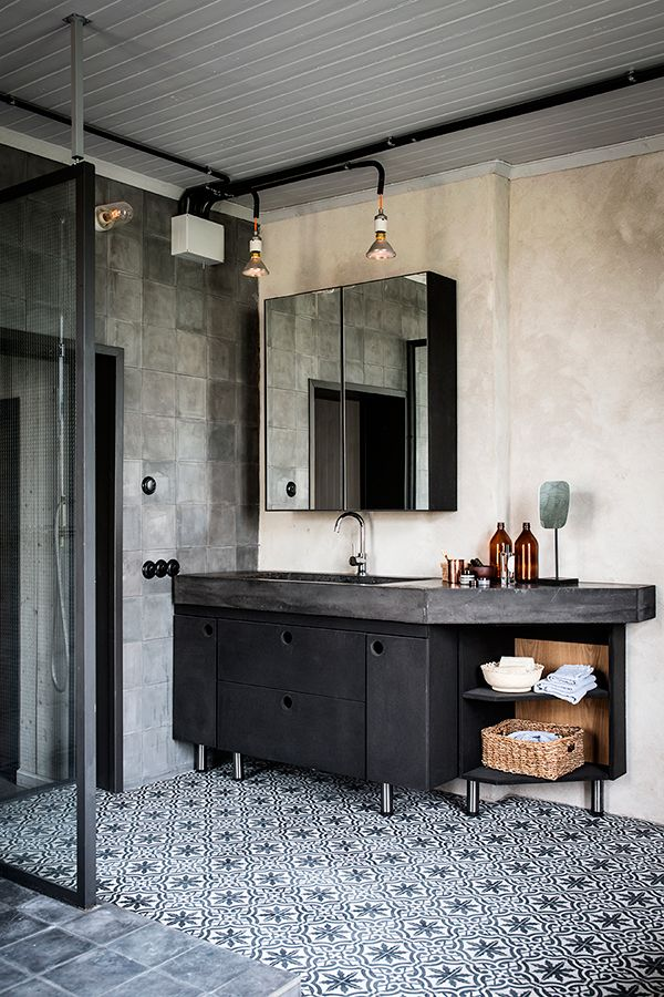 rustic touch in the bathroom love the tiles... by the multidisciplinary artist : Johan Israelson