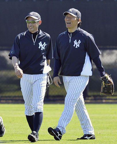 Ichiro Suzuki (New York Yankees) and Hideki Matsui