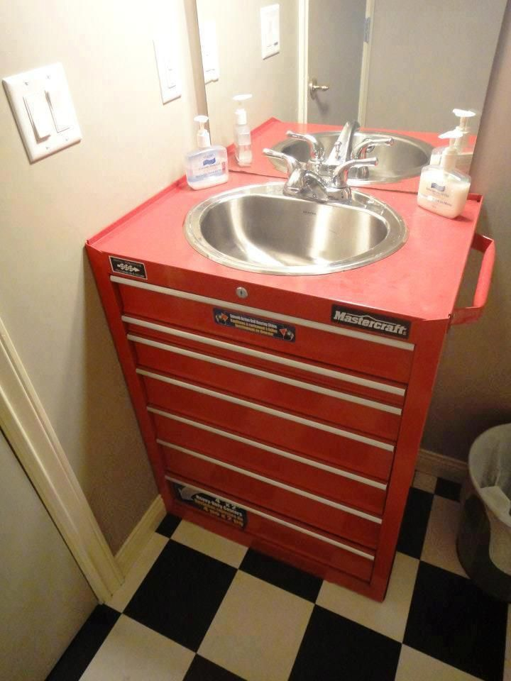 Perfect tool chest sink vanity man bathroom bachelor house