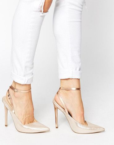 Play on words pointed high heels by Asos. Heels by ASOS Collection, Textured, leather-look upper, Metallic finish, Twin pin buckle fastenings to ankle, Low-cut...