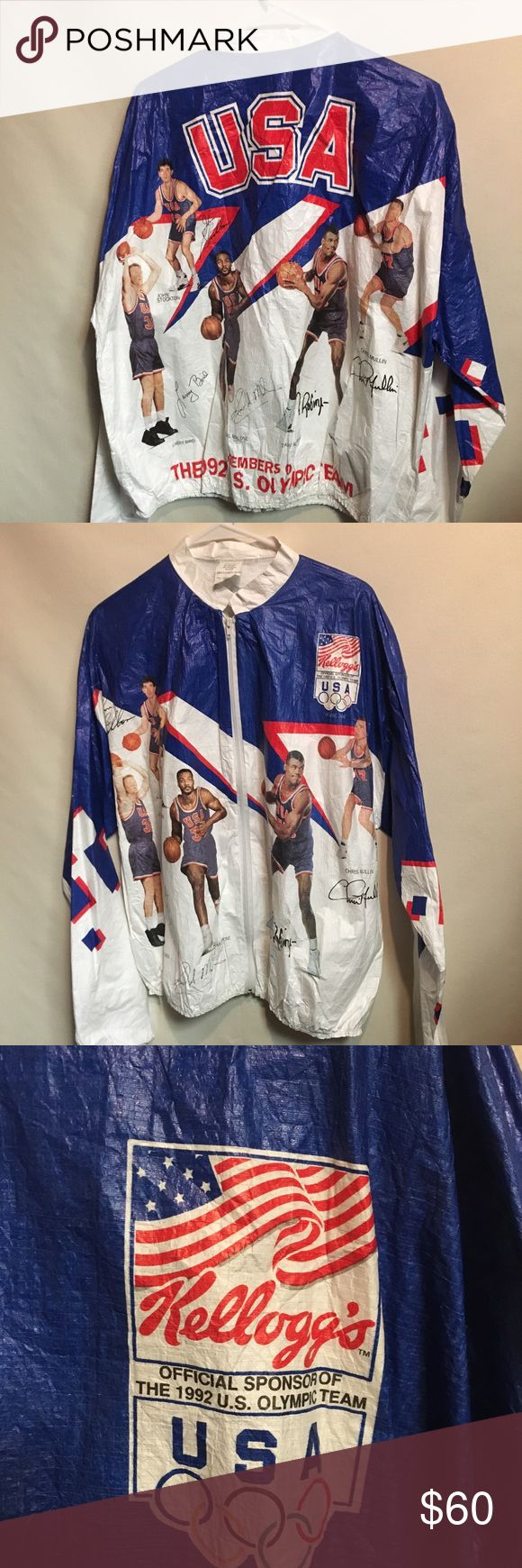 Vintage Dream Team Kellogg's Tyvec Windbreaker Vintage Men's L/XL Kellogg's USA Dream Team Tyvec Full Zip Windbreaker Jacket. One of the Classic Throwback Sports Jackets Of The 90's. These jackets were given away by Kellogg's Cereal by sending in proof of purchases. Jacket Features Dream Team Players: Larry Bird, David Robinson, Karl Malone, John Stockton and Chris Mullen. Vintage Jackets & Coats Windbreakers