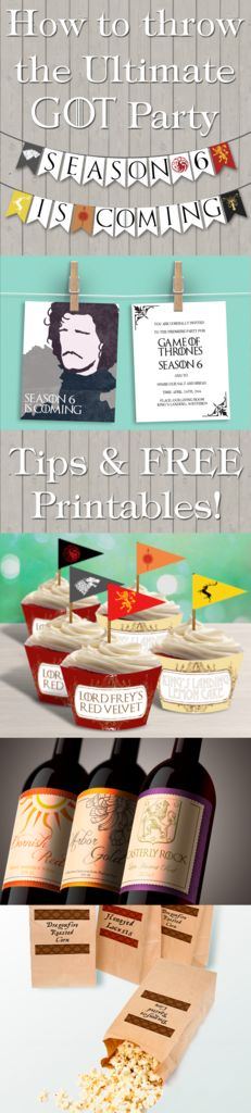 Top Game of Thrones Party Planning Ideas. Free banners, invitation & popcorn bag printables #gameofthrones