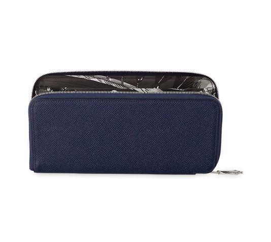 Hermes wallet in sapphire blue Epsom calfskin with dark grey ...