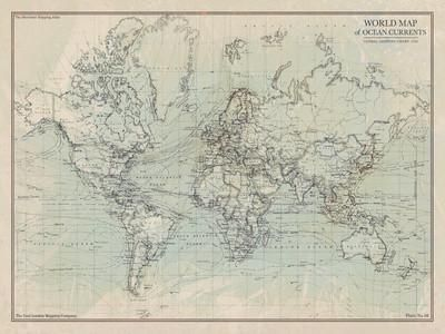 Ocean Current Map I Giclee Print by The Vintage Collection at Art.com