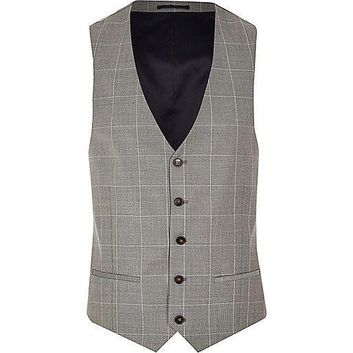 Grey wool-blend check waistcoat - waistcoats - suits - men