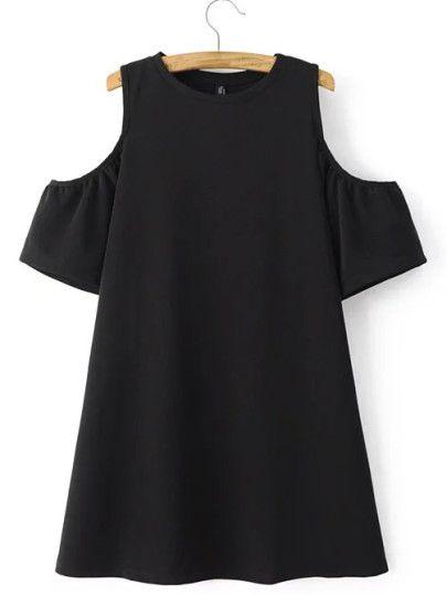 Vestido hombros descubiertos línea A - negro-Spanish SheIn(Sheinside) Sitio Móvil