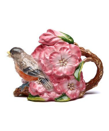 Look what I found on #zulily! Robin & Flowers Teapot #zulilyfinds