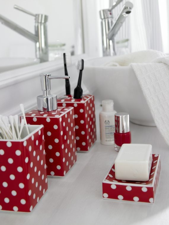 Red pois bath set red pots red and white polka dots for Red and white bathroom accessories