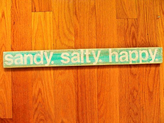 Wooden sandy salty happy  Beach Sign Wall Hanging by lowercasec, $20.00