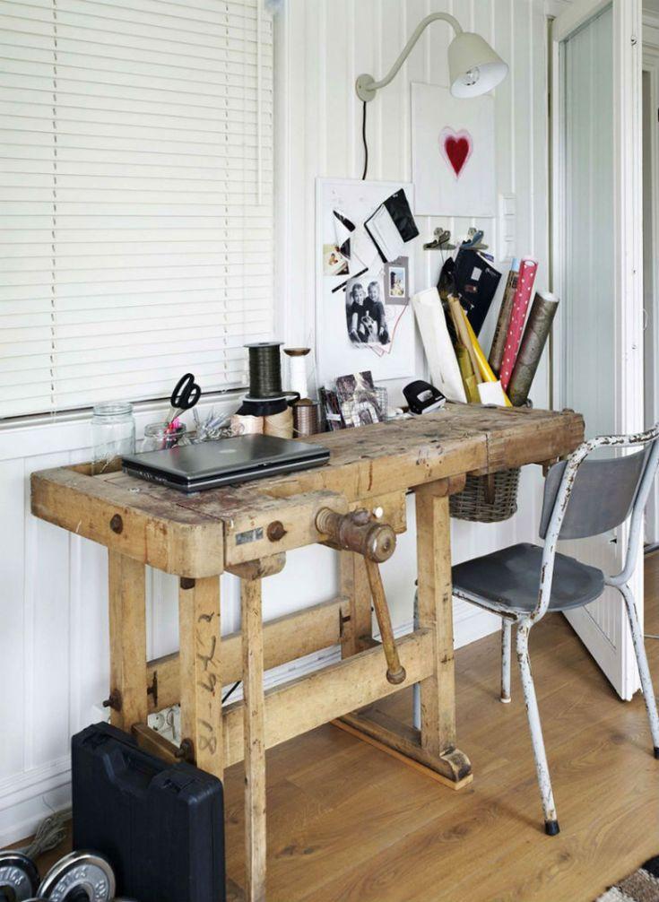 Mooi voor in huis: een oude werkbank