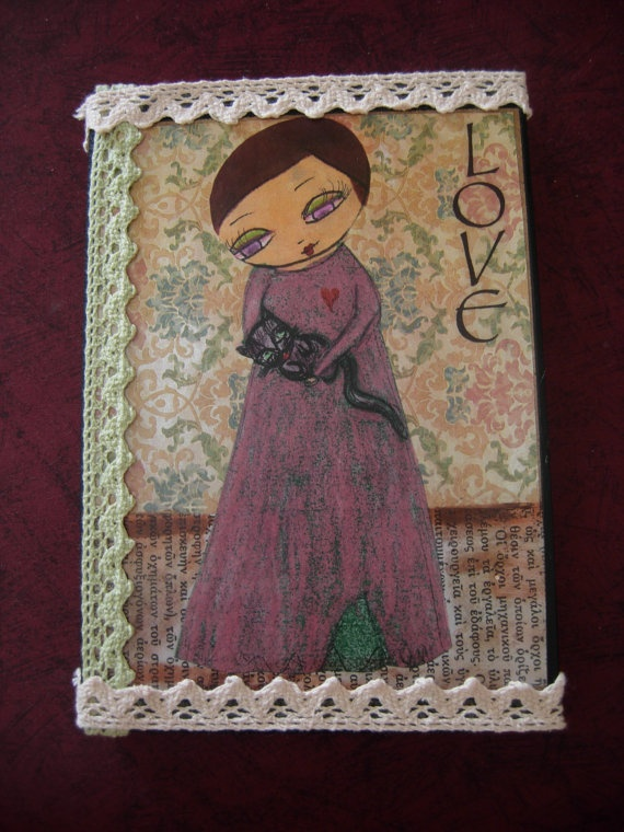 Love/a girl and her catart by eltsamp on Etsy, $55.00