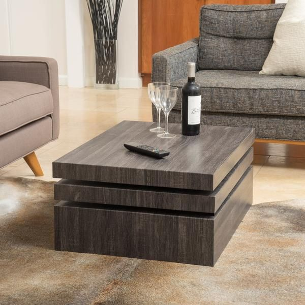 Haring Square Rotating Wood Coffee Table Salon Moderne
