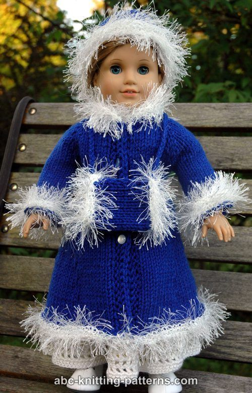 ABC Knitting Patterns - American Girl Doll Retro Winter Outfit (Coat, Hat and Muff)