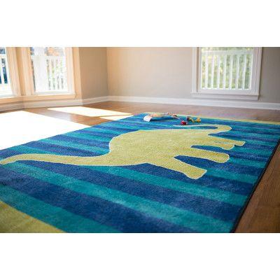 Mohawk Home Aurora Friendly Dinosaur Blue Area Rug | Wayfair