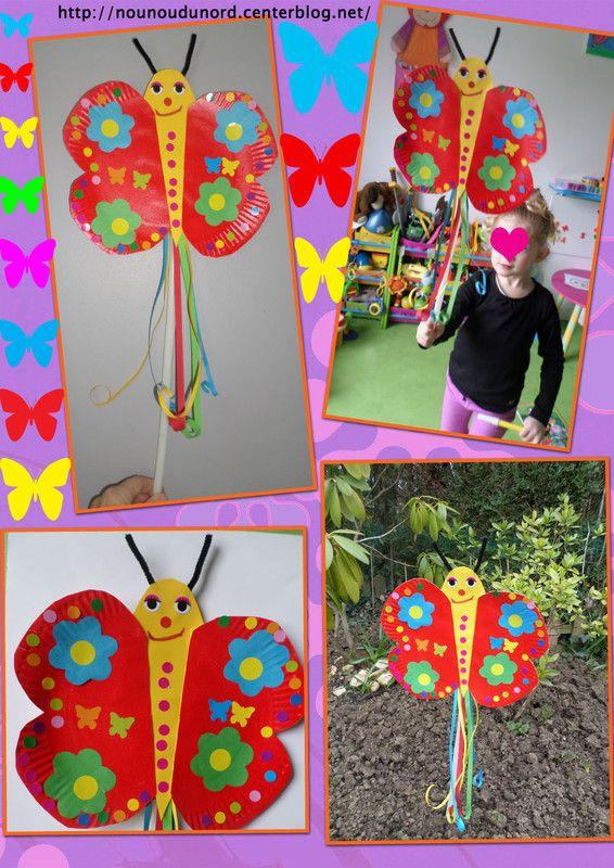 papillon avec une assiette en carton réalisé par Soline