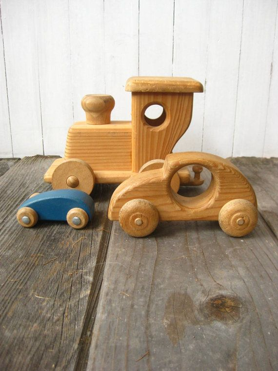 Vintage HANDMADE Wood Toy Set 1950s 50s Midcentury Modern by OBJX, $47.00