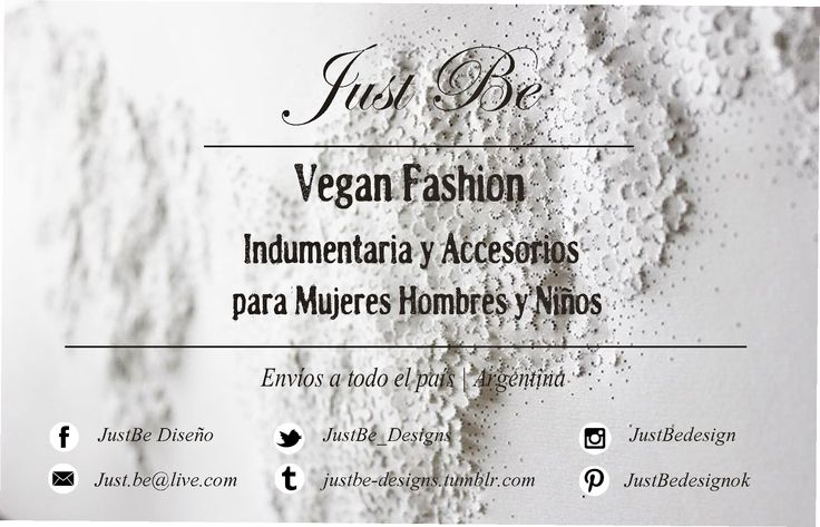 #VeganFashion #JustBe #CrueltyFree #Moda #Indumentaria #Accesorios