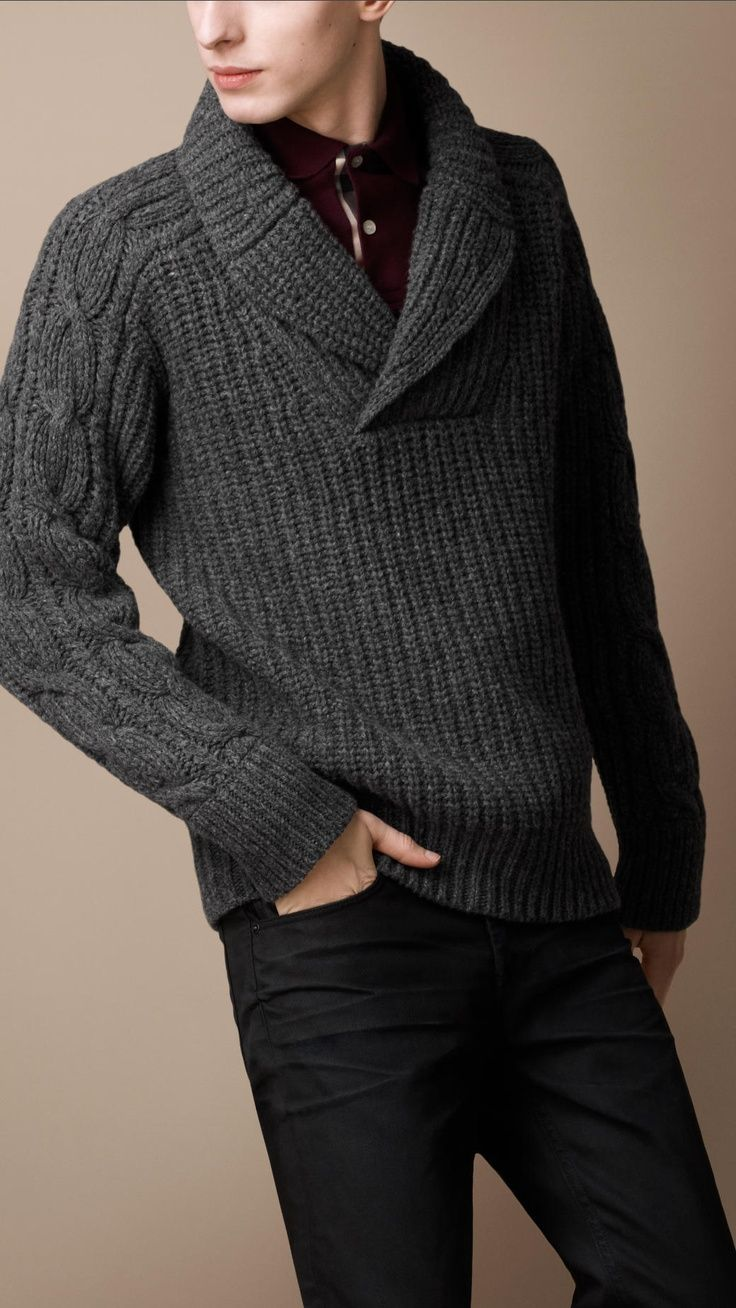 Make a dark grey knit shawl neck sweater and black jeans your outfit choice for a casual level of dress. Shop this look for $111: http://lookastic.com/men/looks/burgundy-longsleeve-shirt-charcoal-knit-shawl-neck-sweater-black-jeans/6033 — Burgundy Long Sleeve Shirt — Charcoal Knit Shawl Neck Sweater — Black Jeans
