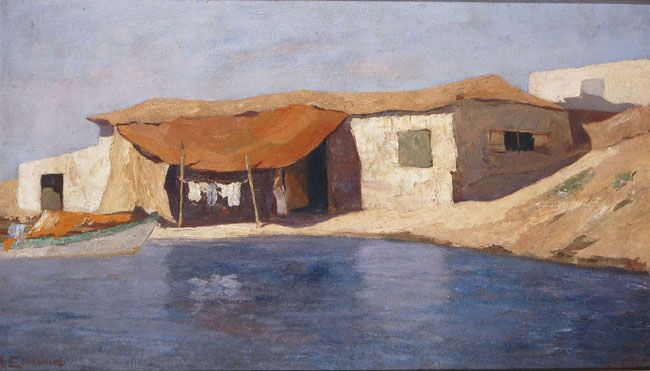 Oikonomou Michalis (1884 - 1933)- Fisherman's house-     oil on hardboard_National Gallery Museum of Athens