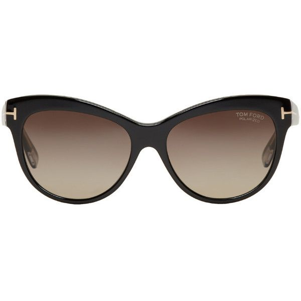 Tom Ford Black Lily Cat-Eye Sunglasses ($425) ❤ liked on Polyvore featuring accessories, eyewear, sunglasses, black, logo sunglasses, tom ford sunglasses, tom ford eyewear, acetate sunglasses and cat eye glasses
