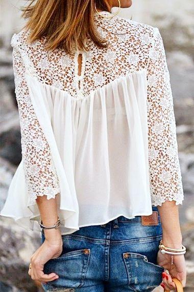 White Lace Splicing Chiffon Long Sleeve T-shirt