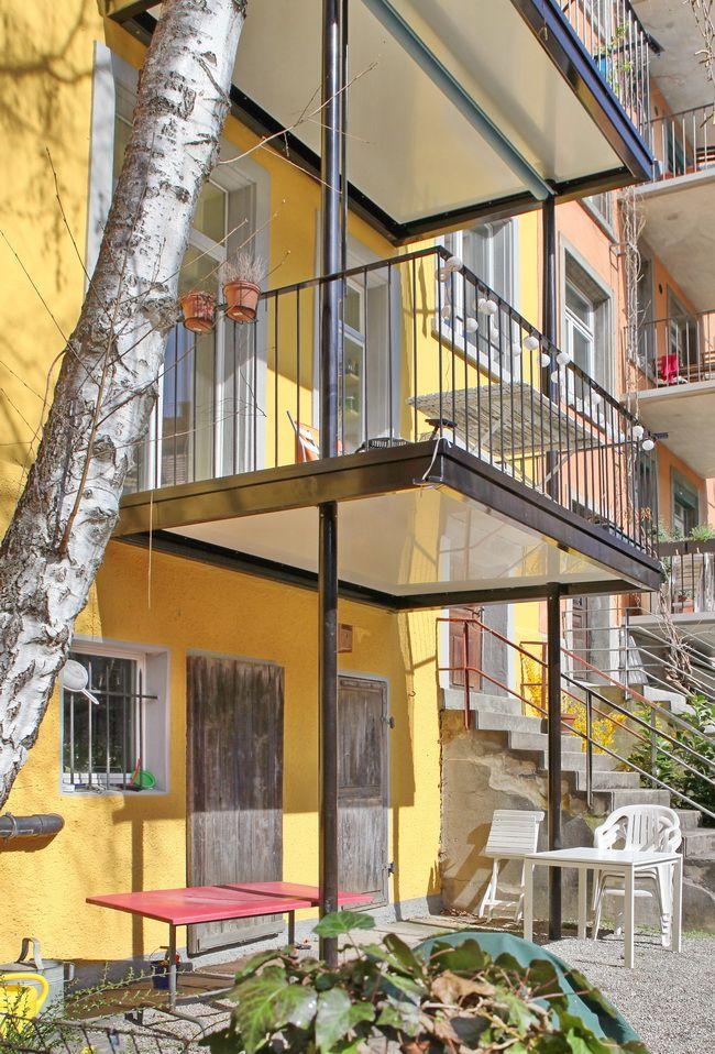Balkonanbau Fur Mehrfamlienhaus Verbundplatte Mit Weisser