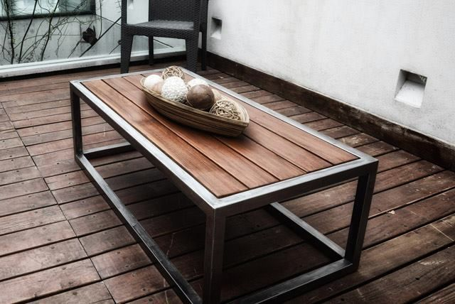 Mesa hierro y madera ii objetos pinterest mesas for Bar de madera y fierro