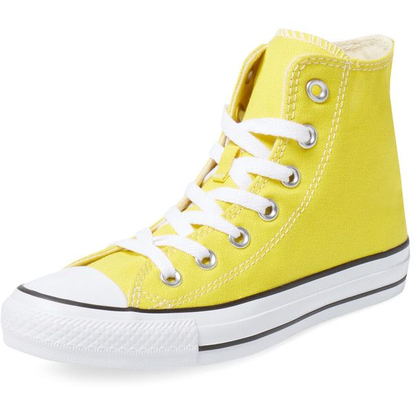Converse Chuck Taylor All Start Citrus Hi Top ($39) ❤ liked on Polyvore featuring shoes, sneakers, yellow, yellow sneakers, converse footwear, laced up shoes, yellow high top shoes and lacing sneakers