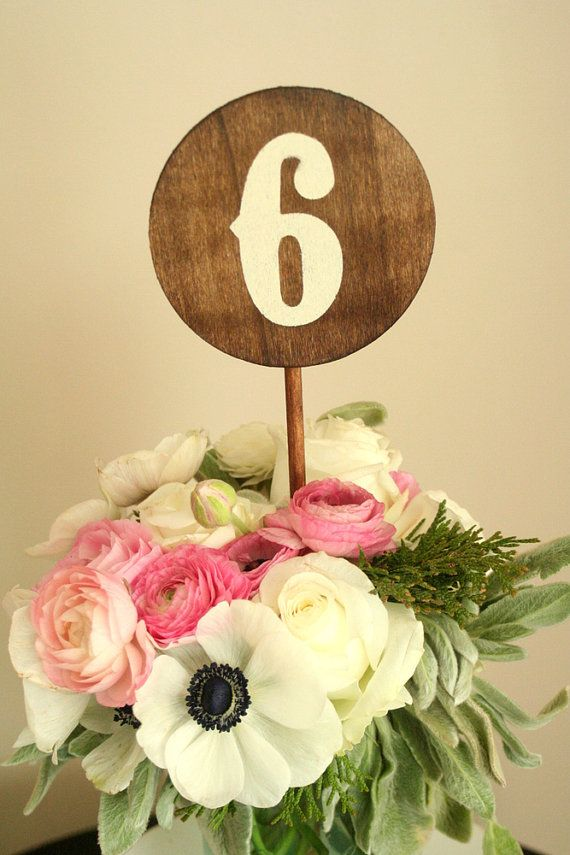 Wedding Wood Table Numbers 110  Round  Made to by pepperspaperie, $80.00