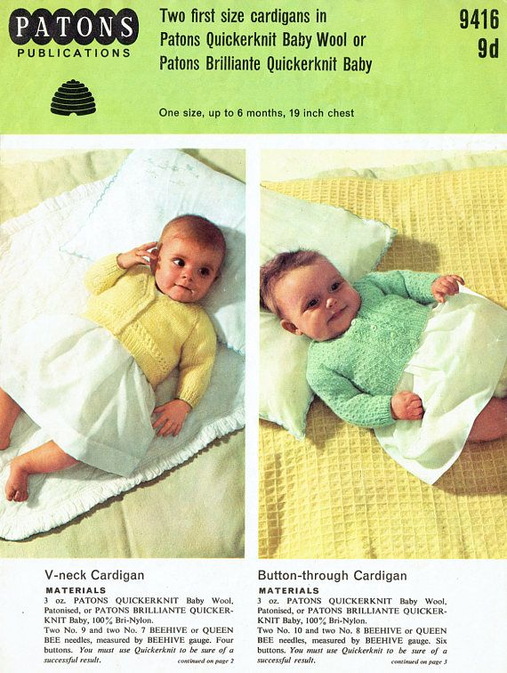 Original Vintage Baby Knittng Pattern 1960s Patons 9416