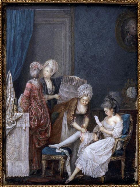 Jeune femme à sa table de toilette, avec une lettre et un chien, par Nicolas Lavreince (Lawreince) le jeune