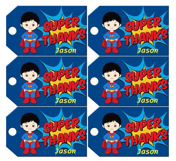 Superman Favor Tags INSTANT DOWLOAD by KidsPartySuppliesPL on Etsy