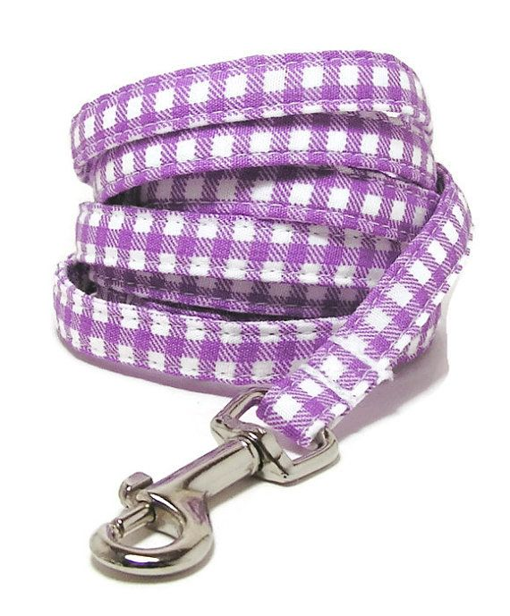 XS Leash  Purple Gingham  3/8 wide XS 4 or 6 Feet by PawsnTails, $23.00