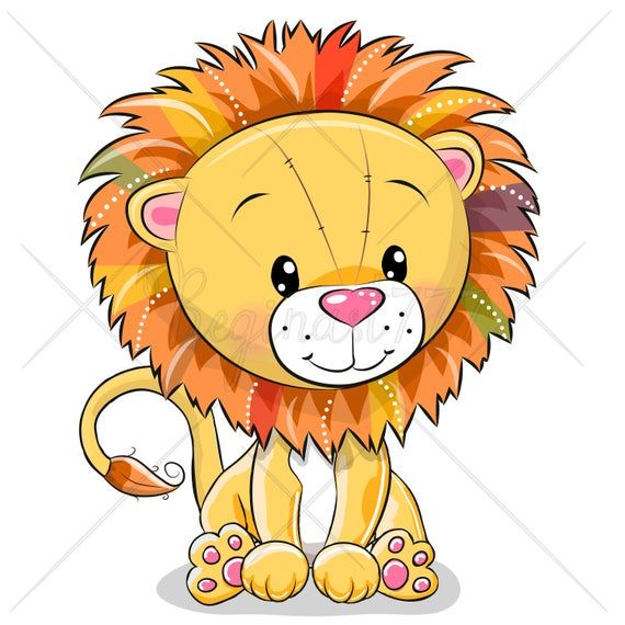 Cute Animals Clip Art Set Of 10 Hand Drawn 300 Png Files Etsy In 2021 Cartoon Lion Cute Lion Cartoon Drawings Of Animals