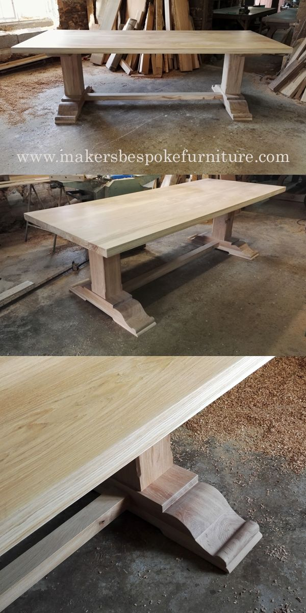 Bespoke Pedestal Refectory Table Makers Furniture Handmade To Order Uk France Delivery