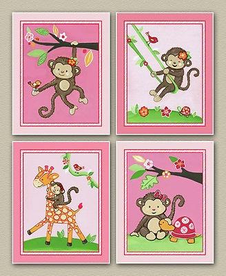 Miss Monkey Nursery Wall Art/Print Bedding Decor Baby Girl Pink. Flowers.Birds.