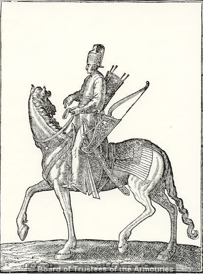 Engraving showing a Turkish horse archer (Timariot), from an unidentified work on the Ottoman Empire. German, 17th century      (http://collections.royalarmouries.org/index.php?a=wordsearch=item=WYTozOntpOjA7czo3OiJ0dXJraXNoIjtpOjE7czoxOiI1IjtpOjI7YjowO30==6)