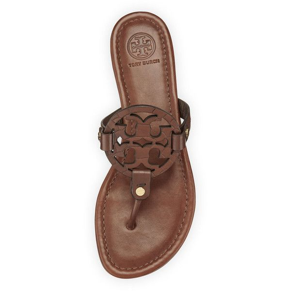 Tory Burch Miller Logo Flat Sandal ($165) ❤ liked on Polyvore featuring shoes, sandals, chocolate brown flat shoes, flat leather sandals, flats sandals, flat heel shoes and tory burch
