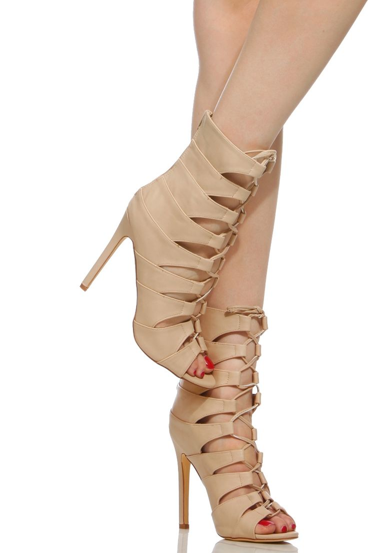 Nude Faux Leather Lace Up Single Sole Heels @ Cicihot Heel Shoes online  store sales: