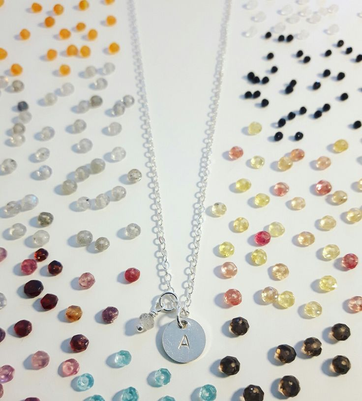 Silver initial tag necklace with mini gemstone... ♡
