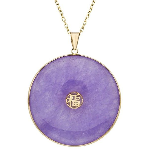 Lavender Jade 14k Gold Disc Pendant Necklace ($1,050) ❤ liked on Polyvore featuring jewelry, necklaces, purple, gold necklace, 14k gold necklace, gold pendant necklace, pendant necklace and purple pendant necklace