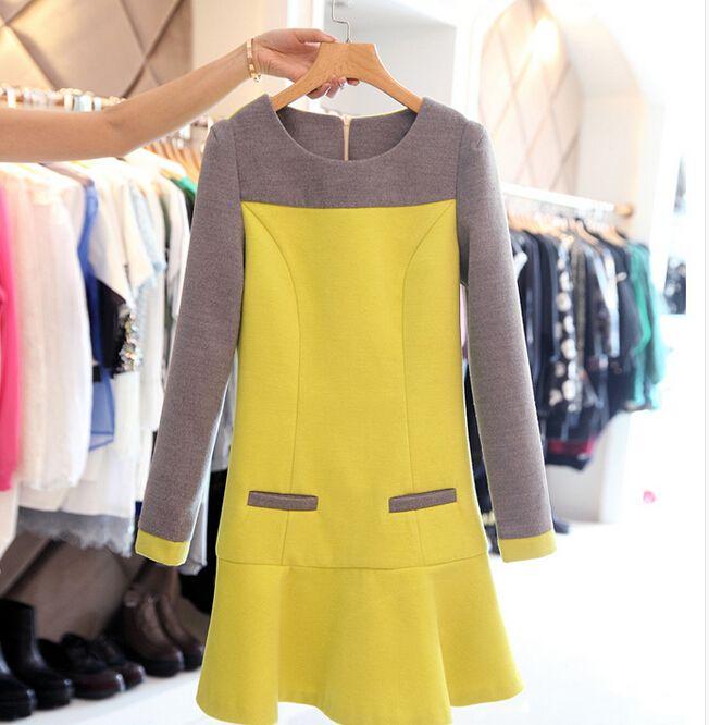 Fashion Round Neck Woolen Long-sleeved Dress
