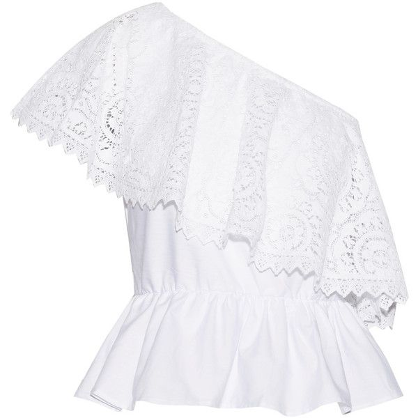 Place Nationale Le Cannet one-shoulder lace and cotton-poplin top (1.280 RON) ❤ liked on Polyvore featuring tops, blouses, white, bohemian tops, cutout tops, lace top, white one shoulder top and vintage lace tops