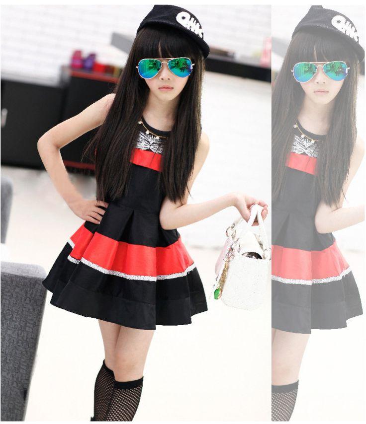 ropa niña de10 años gorra pary un vestido espectacular negro y rojo unas gafas color verde claro para tu linda y bella hija