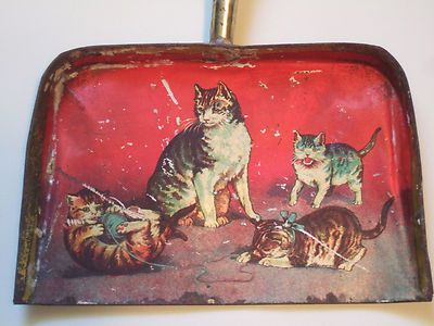 Vintage 1930's Child's Toy Metal Tin Dust Pan Lithograph Playful Cats