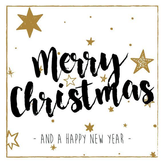 Hippe kerstkaart met envelop  Merry christmas  sterren door PRNTenCo