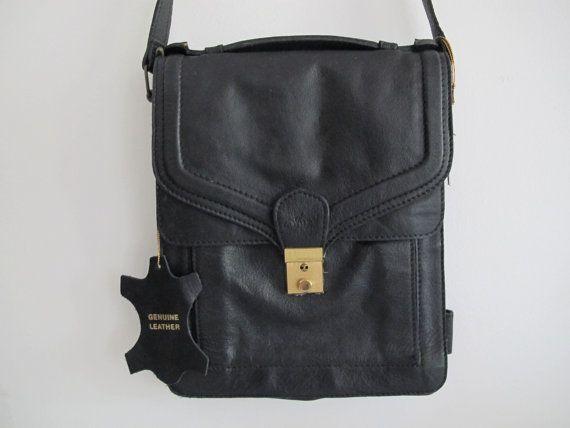 Vintage black Genuine LEATHER TRAVEL bag by PixiePocketVintage, $59.95